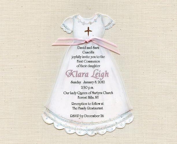 685a4ec03 Amazon.com: 10 Personalized Girl - Communion - Baptism - Dress ...