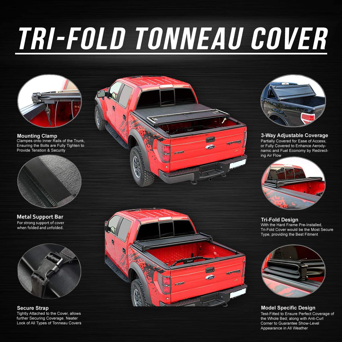 Fit 07 17 Toyota Tundra 8 Tri Fold Adjustable Soft Trunk Bed Tonneau Cover