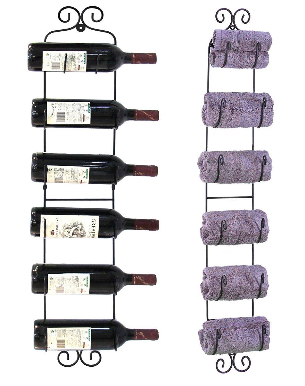 Garain Iron Wall Mounted Wine Towel Hat Rack, 6 Bottles Multi-Purpose Display