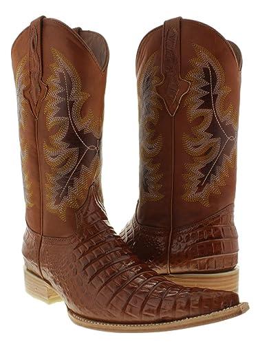 Men's Brown Crocodile Belly Cut Leather Cowboy Boots XXX Toe