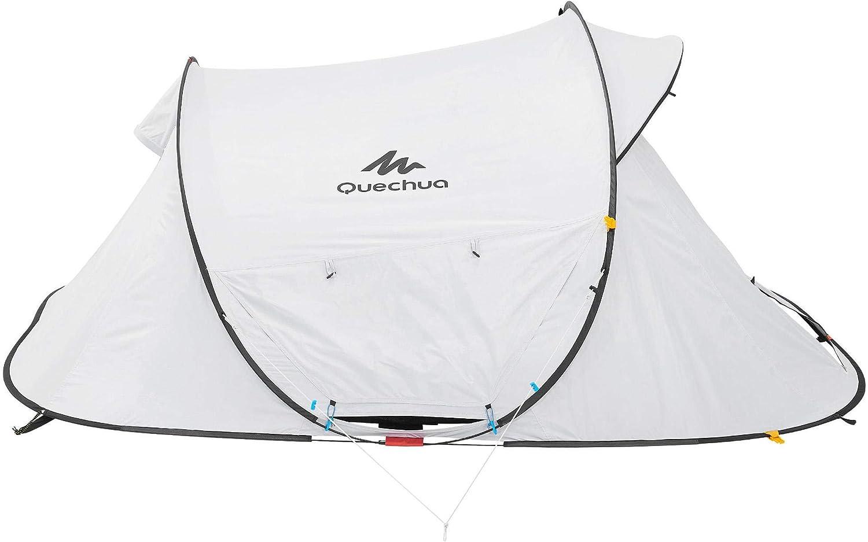 Quechua Tienda de campaña plegable impermeable 2 segundos fresca y negra fácil de instalar y plegar, interior extra oscuro