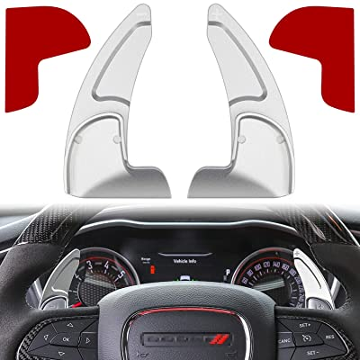 Steering Wheel Shift Paddle Extended Shifter Trim Cover for Dodge Challenger Charger Durango RT & Scat Pack 2015~2020 Aluminum Alloy (Silver 2PCS) (Not Fit SRT Version): Automotive