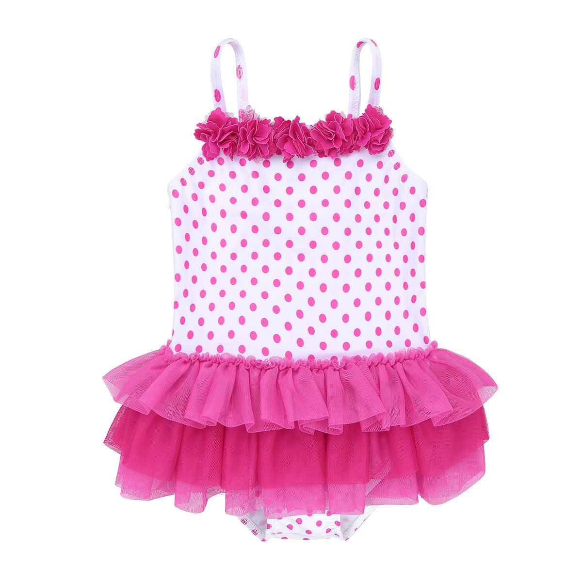 Tiaobug Baby Badeanzug Mädchen Schwimmanzug Badenmode Einteiler one Piece Streifen Bikini Tankini Badekleid mit Punkte Rüschen Retro Chic Stil Badebekleidung