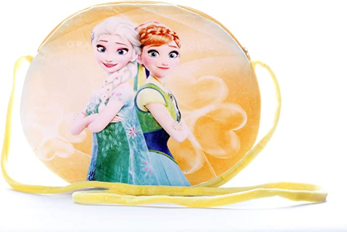 HC Toys LLP Disney Frozen Sisters Princess Elsa and Anna Yellow Sling Bag for Baby Girls Kids