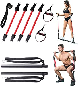 Portable Pilates Bar Kit with 4 Elastic Resistance Bands, Multifunctional Yoga Pilates Stick with Handles for Full Body Workout Stretching Exercises, Muscle Build