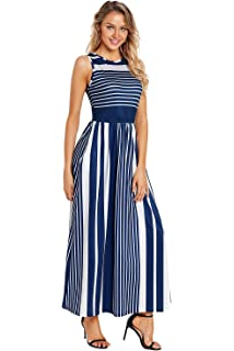 8fe14b7292 Prelly Casual Striped Maxi Dresses for Women Sleeveless Long Maxi Dress  with Pockets
