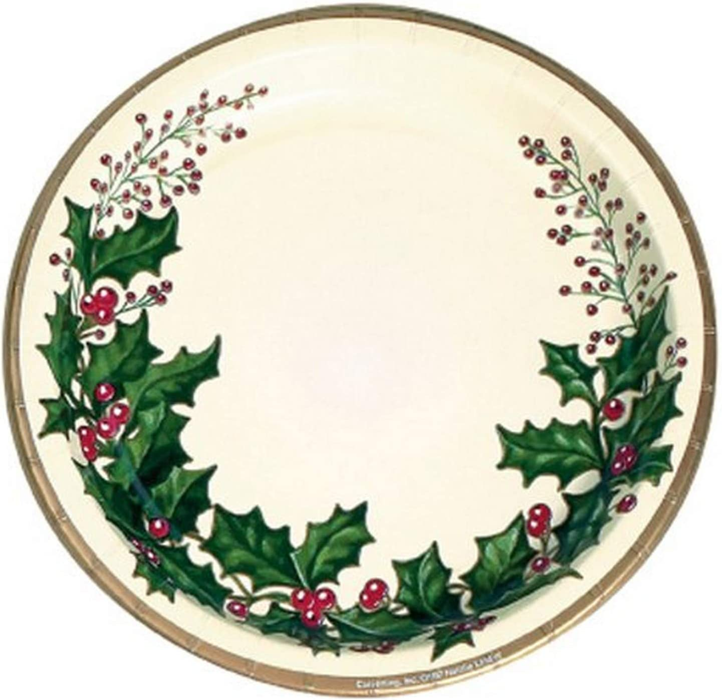 """Pure Poinsettia Holly Flower Christmas Holiday Party 7/"""" Paper Dessert Plates"""