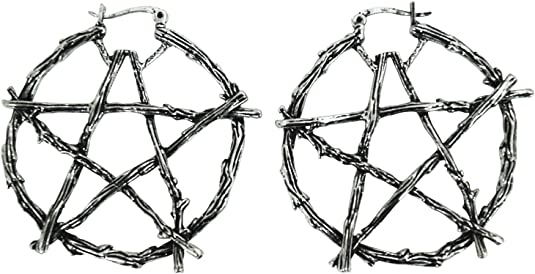 Pentagram Earrings 3D printed Witch Pentacle Pagan Wicca Occult Symbol Pastel Goth hoop earrings Lightweight Free Shipping MTcoffinz