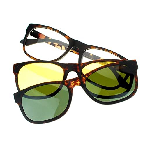 175829c75e4 Amazon.com  SA106 Magnetic Polarized Antiglare Driving Lens Clip On Sunglasses  Glasses Tortoise  Clothing