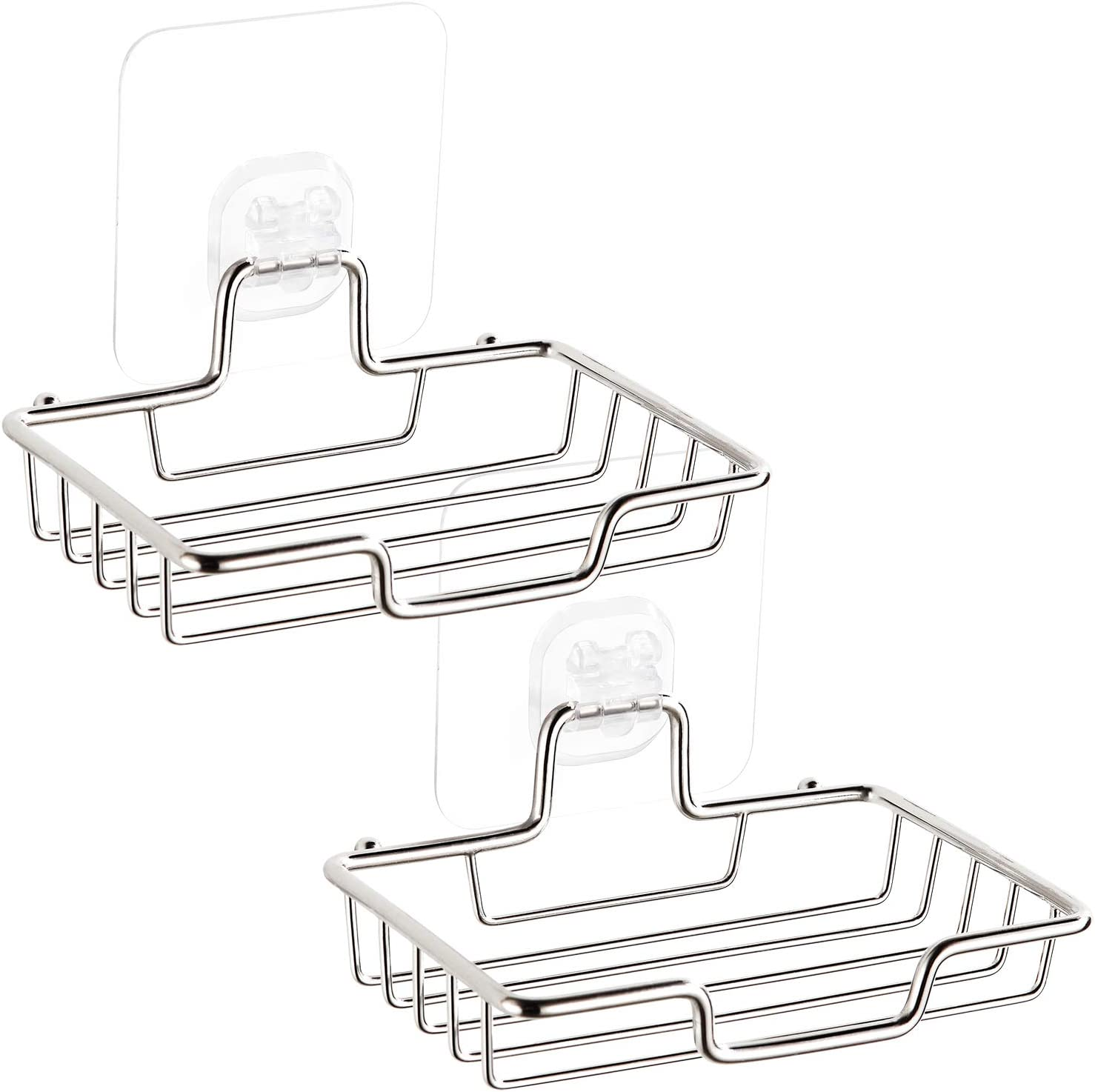GUNMIN Adhesive Soap Dish Sponge Holder for Bathroom Shower Kitchen, No Drilling Wall Mounted Soap Saver, Stainless Steel, 2 Pack (D-3002A)