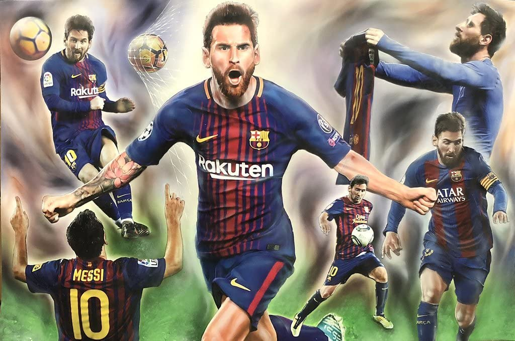 Amazon Com Nyap Lio Messi Lionel Messi Barcelona Fc Poster 24in X 36in Collage Home Kitchen