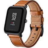 Kartice for Amazfit Bip Band,Huami Amazfit Bip Bands Genuine Leather Strap Replacement Buckle Strap Wrist Band for Amazfit Bip Smartwatch. (Brown)