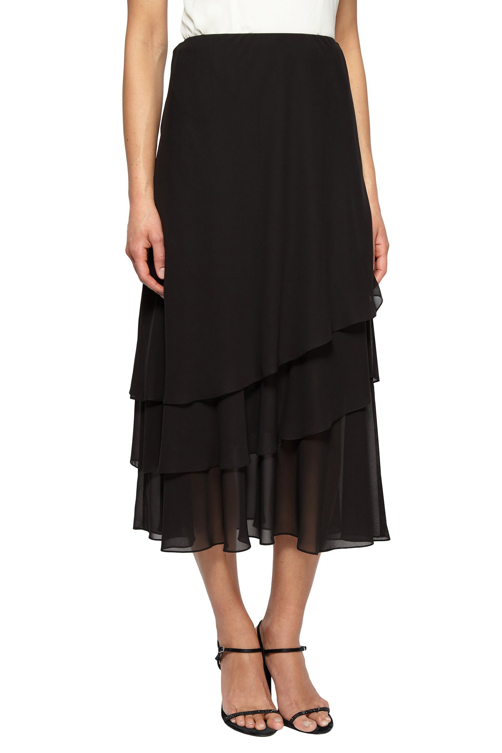 Alex Evenings Women's Chiffon Tea Length Skirt Various Styles (Petite Regular), Black Tier, SP by Alex Evenings