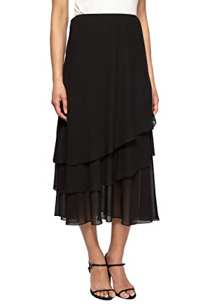 c5711aae6f Alex Evenings Women's Chiffon Skirt Various Styles (Petite and Regular  Sizes), Black,