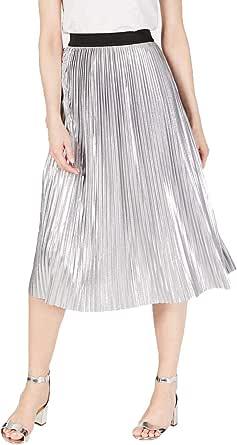 INC Womens Silver Midi Pleated Skirt US Size: M