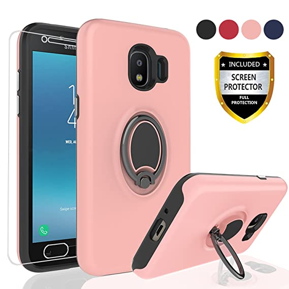 huge discount cb8d5 45f63 AYMECL Galaxy J2 Pro 2018 case, J2 2018/Grand Prime Pro case with HD Screen  Protector,Rotating Ring Holder Dual Layer Shock Bumper Cover for Galaxy J2  ...