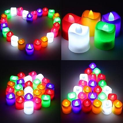Hanumex Flickering Beautiful Alria Led Flameless Multi Auto Color Change Tea light for Diwali Gifts / birthday/ festivals / anniversary Set of 24 Pcs