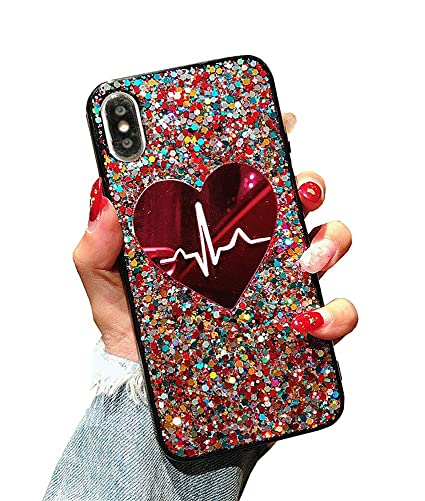 sports shoes 6a03d 59698 UnnFiko Laser Sequins Heartbeat Case for iPhone 7 Plus/iPhone 8 Plus, 3D  Reflex Bling Pretty Sparkle Soft TPU Flexible Black Cover for Girls Women  ...