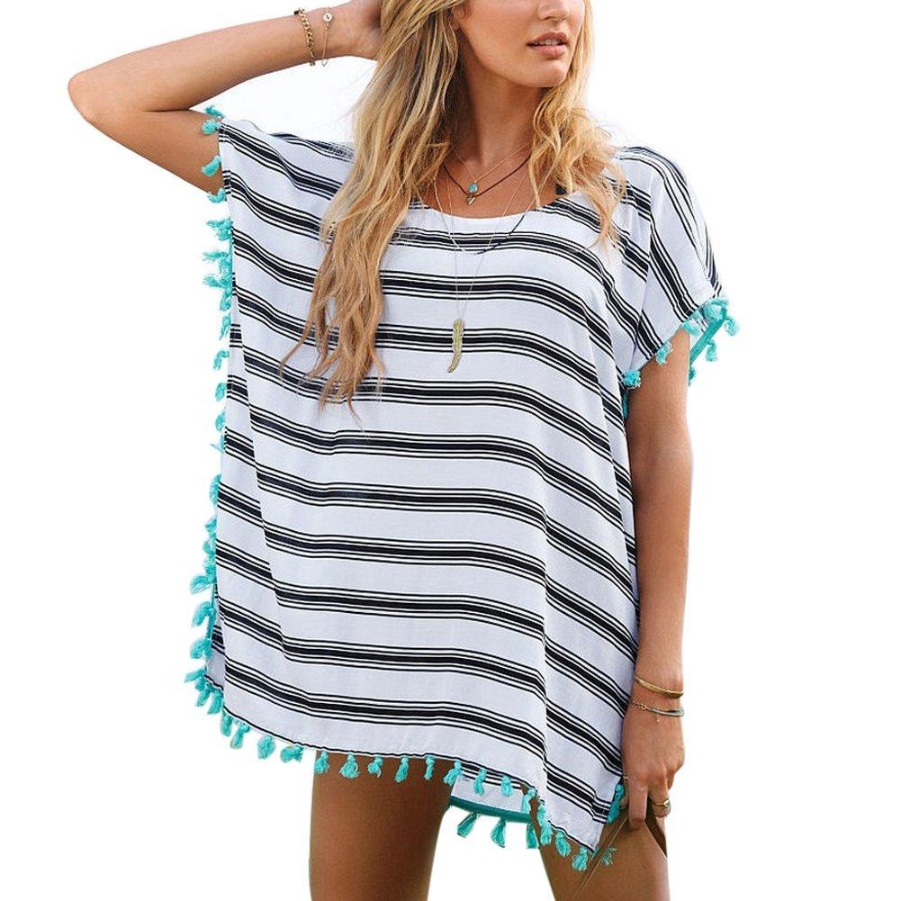MIOIM® Damen Shirt Long Casual Streifen Strandshirt Sommer Blusen Strandhemd Damen Oversize Shirt Bikini Cover Up