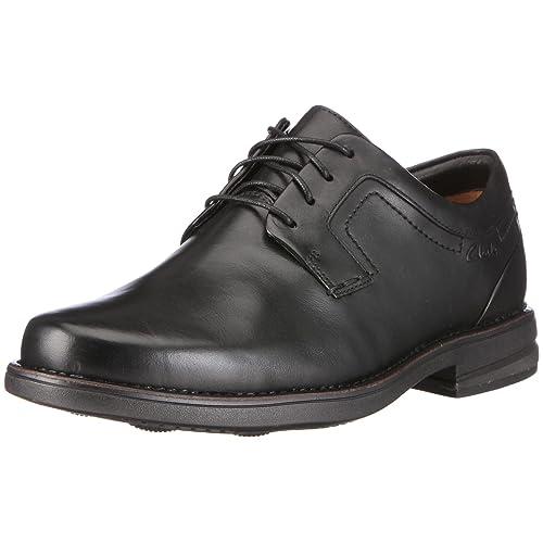 Clarks Tilden Walk, Zapatos de Cuero para Hombre, Negro (Black Leather), 47