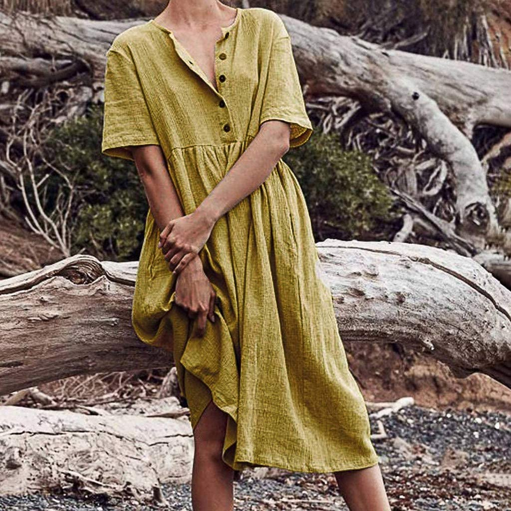 WUDUBE Womens Long Dress Button Round Neck Short Sleeve Solid Color Cotton and Linen Casual Loose