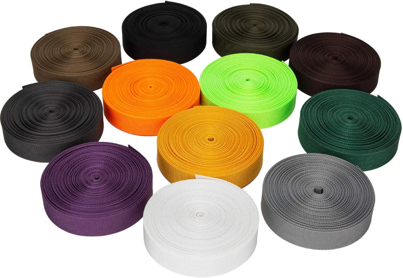 1//1.5//2 Inch x 10.9Yards Traveller Nylon Webbing Tape Heavy Duty for General Outdoor Application Outdoor Gear Repair