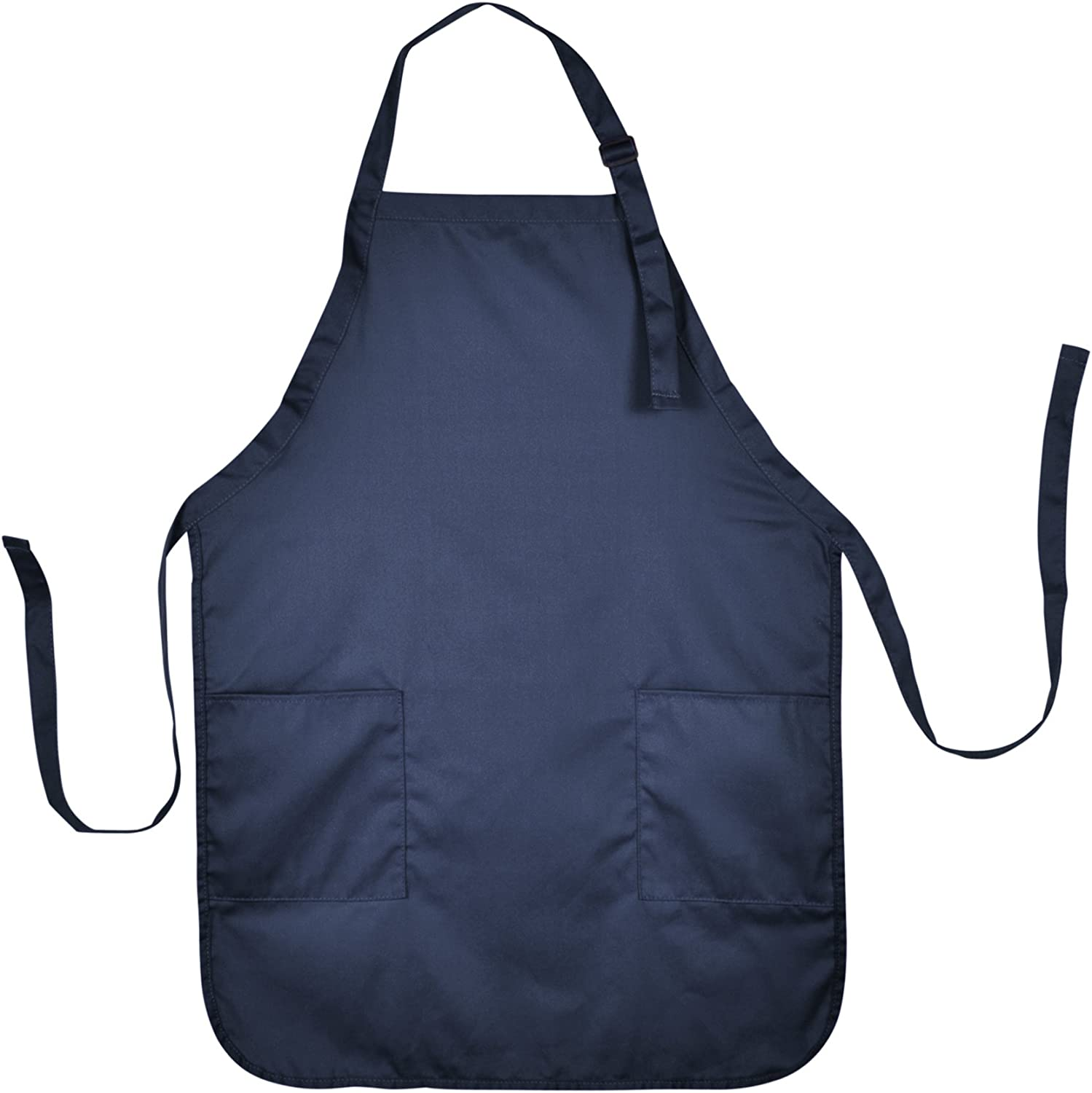 DALIX Apron Commercial Restaurant Home Bib Spun Poly Cotton Kitchen Aprons (2 Pockets) in Navy Blue