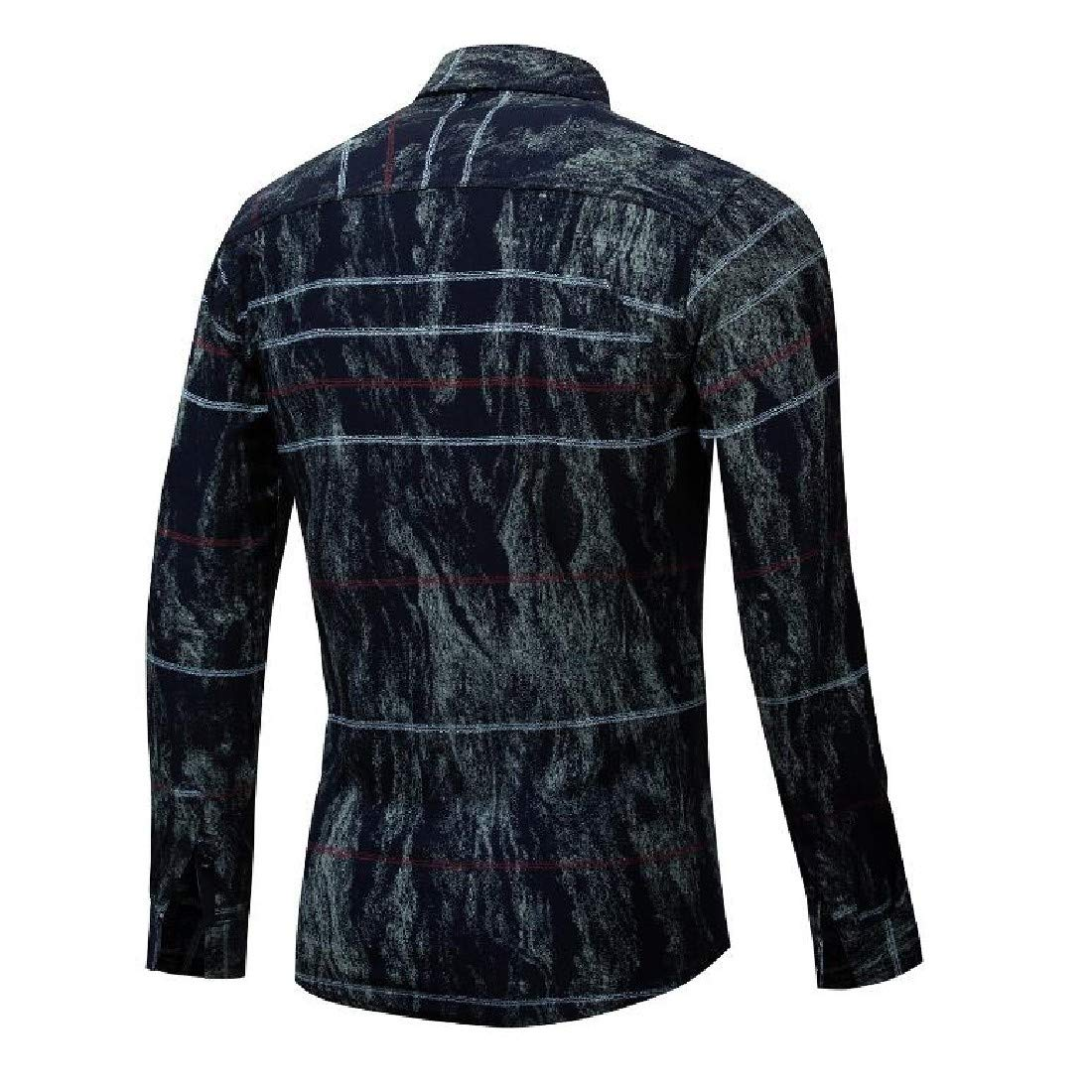 Fieer Mens Pinstripe Long Sleeve Cotton with Plus Size High Elastic Shirt