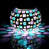 Safebao Lámpara Solar LED Iluminación de Ambiente Magia RGB Cambiante Luz de Noche Con Mosaico para Mesa, Dormitorio, Habitación,Fiesta, Jardín, Decoración Interior o Exterior