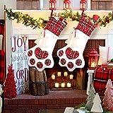 OurWarm Pet Dog Christmas Stocking, Red Plaid Dog Paw Hanging Xmas Stockings for Christmas Fireplace Tree Decorations, 18 x 11 Inch
