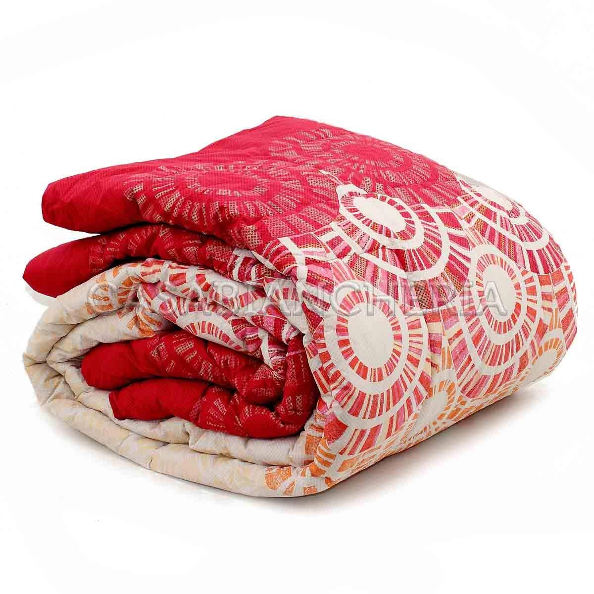 Bassetti Trapunta Matrimoniale Invernale Abstract Double-Face in Puro Cotone Rosso