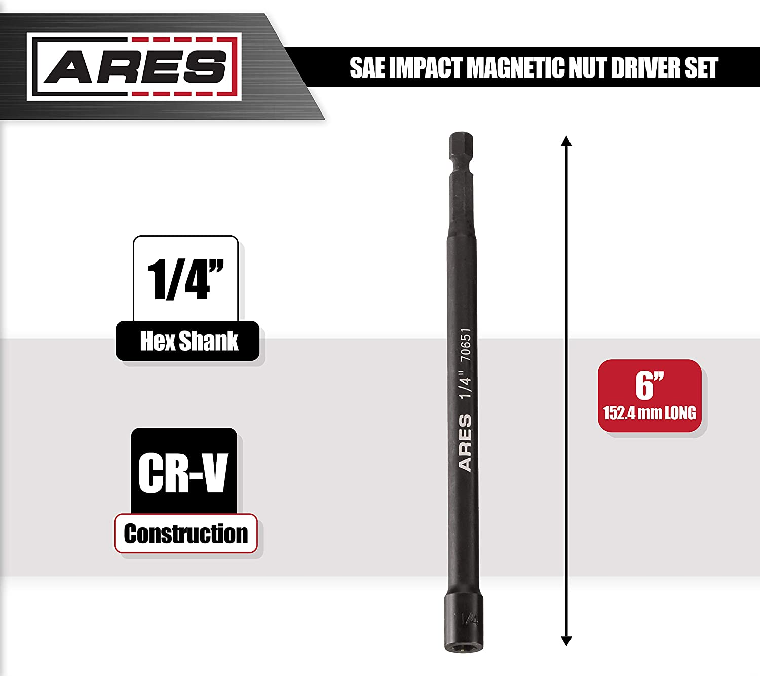 9//16-inch Magnetic Impact Nut Driver Impact Grade Nut Setter with Industrial Strength Magnet ARES 70656
