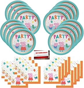 Peppa Pig Party Supplies Bundle Pack for 16 Guests (Plus Party Planning Checklist by Mikes Super Store)