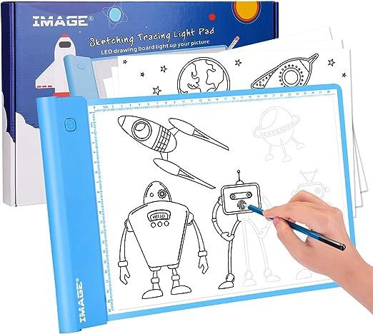 AGPTEK Caja de Luz Image, Almohadilla de Luz para Calcar A4 inalámbrica, Tablero de Luz Ultrafino, Control de Brillo Continuo de Botón Físico con Función de Memoria para Tatuajes, Bocetos Diseño: Amazon.es: