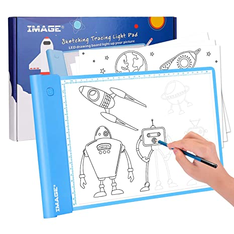 IMAGE Light Up Tracing Pad,Blue Drawing Tablet Coloring Board for Kids  Gifts Toys for Boys