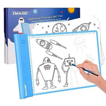 AGPTEK IMAGE Light Up Tracing Pad, Blue Drawing Tablet ...