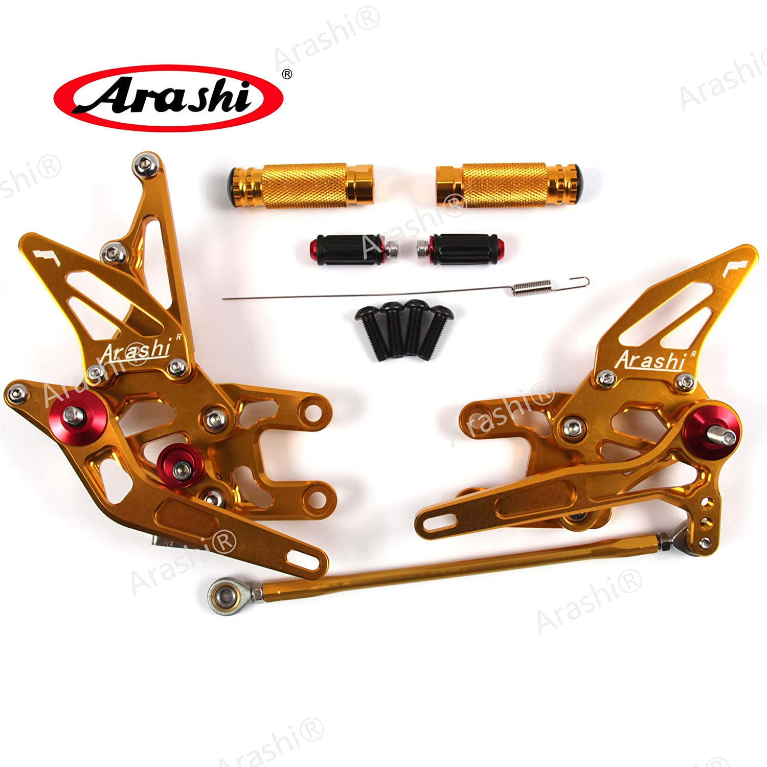 Arashi Rearsets Footrests FootPegs for KAWASAKI NINJA ZX10R ZX1000 2004 2005 Motorcycle Accessories Adjustable Foot Peg Rest ZX-10R ZX-1000 ZX 10R 1000 1 Set Gold 04 05