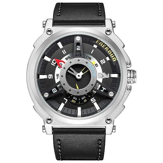 ca7e9233af4 FAERDUO Estilo británico de Hombre Cara Grande Relojes Reloj de Hombre Moda  Casual Deportes Diseño único