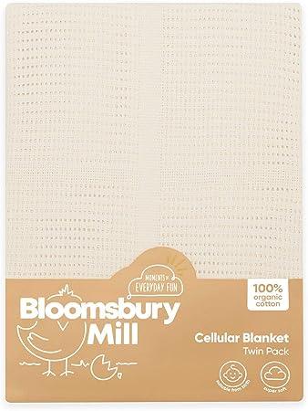 Bloomsbury Mill - Mantas Celulares Extrasuaves Para Bebé - 100 % Algodón Orgánico Puro - Para Carrito, Capazo o Viajes - Juego de 2 - Crema