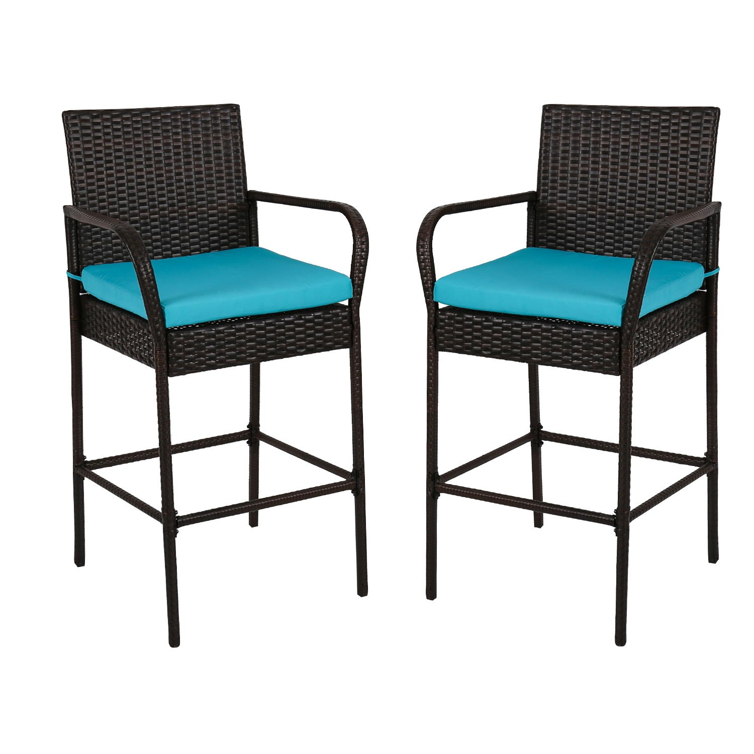 Peach Tree 2PCs Outdoor Wicker Bar Height Chair Set, All Weather Patio Furniture Rocker Rattan Dining Chiars Barstool High Chairs with Cushions, Blue