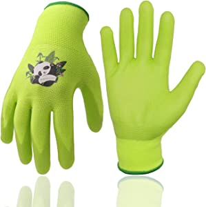 Kids Gardening Gloves, 3 Pairs Candy Colors Children Garden Gloves with Rubber Coated Palm for Age 2-13 Girls Boys (Size 2 (Age 2-4), Green 3 Pairs)