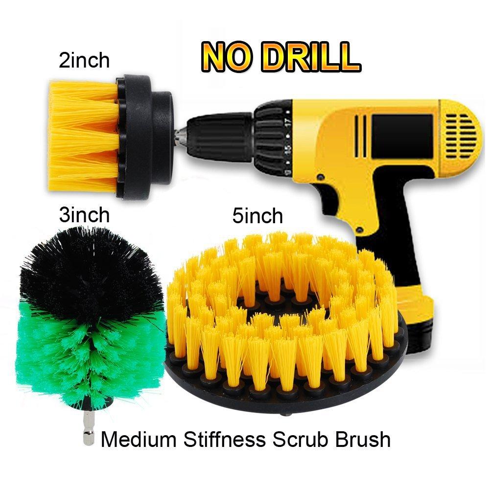 Oxoxo 2 a + 3 a + 5 in drill Brush Medium Heavy Duty scrubbing Cleaning Power scrubber kit di pulizia per per piastrelle bagno doccia/vasca da bagno, cucina barche