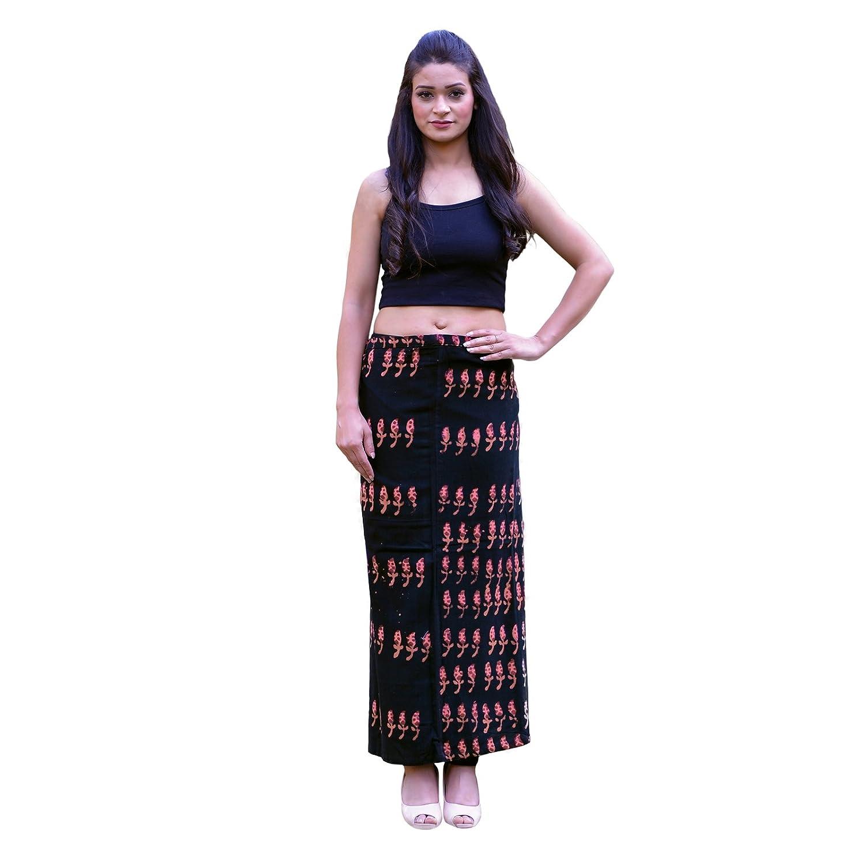Black SNS New Wraparound Skirt Handloom Raw Cotton Fabric Kasuti Embroidered