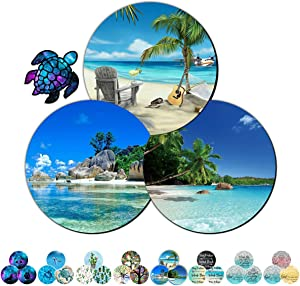 Gaming Mouse Pad Mat for Laptop 3 Pack Beach and Coconut Trees Mousepads with Cute Stickers Non-Slip Rubber Base Round Mouse Pads for Compute Working Home Office Accessories