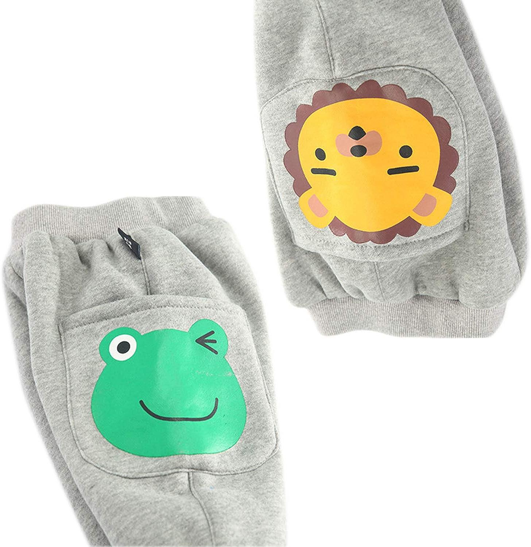 Evelin LEE Baby Kids Elastic Waist Pants Cartoon Printed Thick Trousers Casual Sweatpants