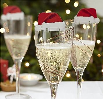 Hengsong 10 Mini Lustige Weihnachtsdeko Für Gläser Weinglas