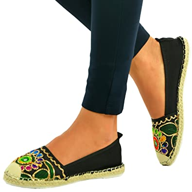 4c2c0bc953 CucuFashion New Womens Ladies Ethnic Flats Espadrilles Ballerina Loafers  Slip On Shoes Size: Amazon.co.uk: Shoes & Bags