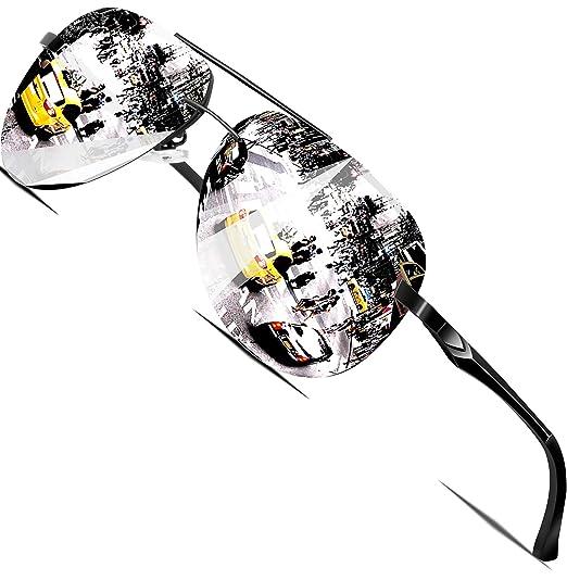 2d9d4975aa9 ATTCL Hommes aviator Lunettes de soleil Polarisé Cadre en métal ultra léger  A143 black silver