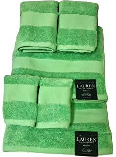 RALPH LAUREN Wescott 6 Piece Bath Towel Set - 100% Cotton - Island Green