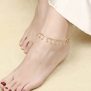 Gold Plated Anklet for Women Girls 18k Gold Plated Bell Foot Chain Fashion Jewellery 26CM Gold